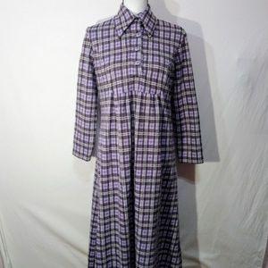 60's/70's Handmade Purple Gingham Maxi Dress